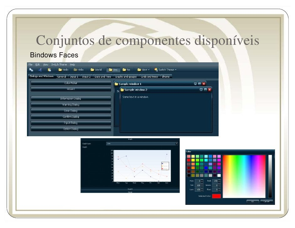 Conjuntos de componentes disponíveis Bindows Faces