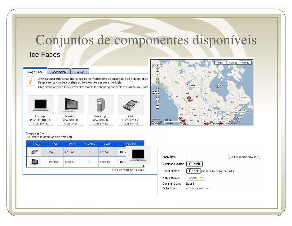 Conjuntos de componentes disponíveis Ice Faces