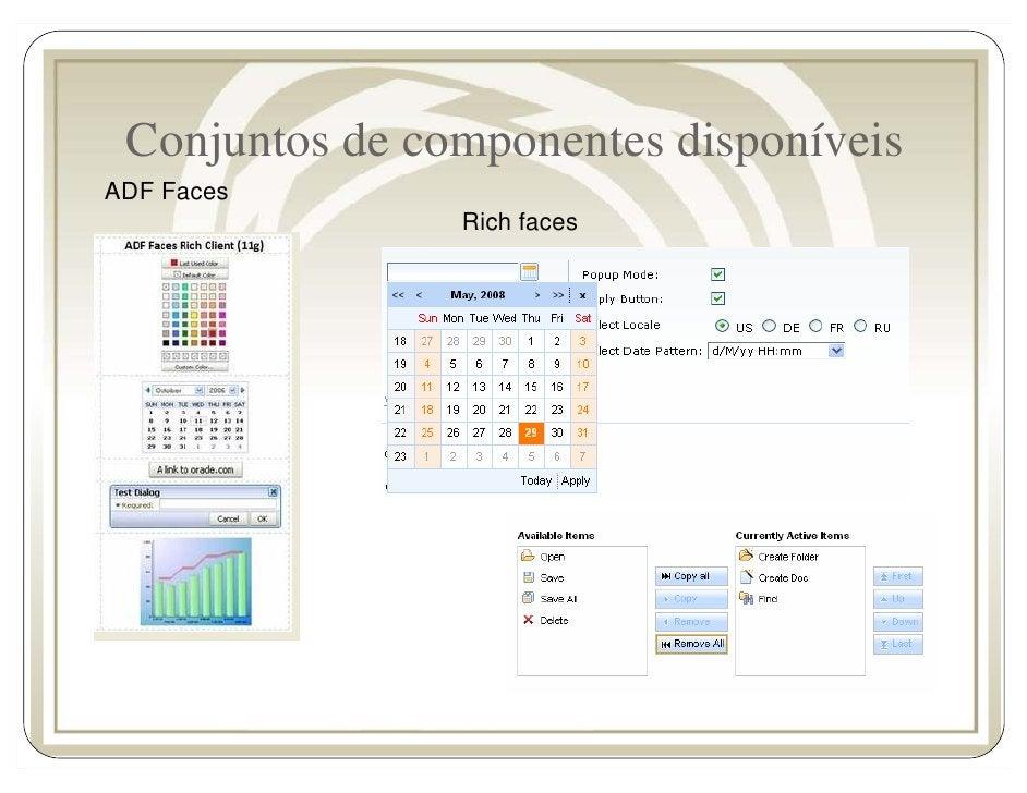 Conjuntos de componentes disponíveis ADF Faces                 Rich faces