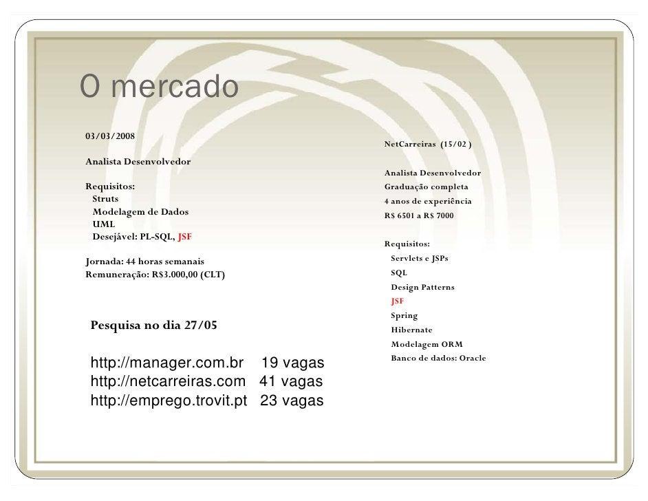 O mercado 03/03/2008                                      NetCarreiras (15/02 ) Analista Desenvolvedor                    ...