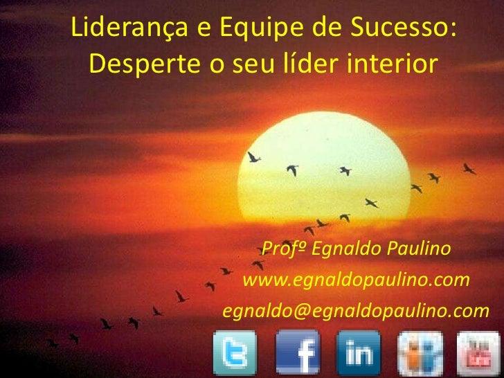 Liderança e Equipe de Sucesso:  Desperte o seu líder interior                Profº Egnaldo Paulino              www.egnald...
