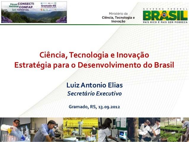 Ciência, Tecnologia e InovaçãoEstratégia para o Desenvolvimento do Brasil              Luiz Antonio Elias              Sec...