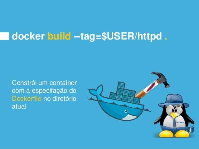 docker run -d -p 80:80 $USER/httpd Roda o container e coloca ele como um -deamon e espelha a -porta 80 de dentro do contai...