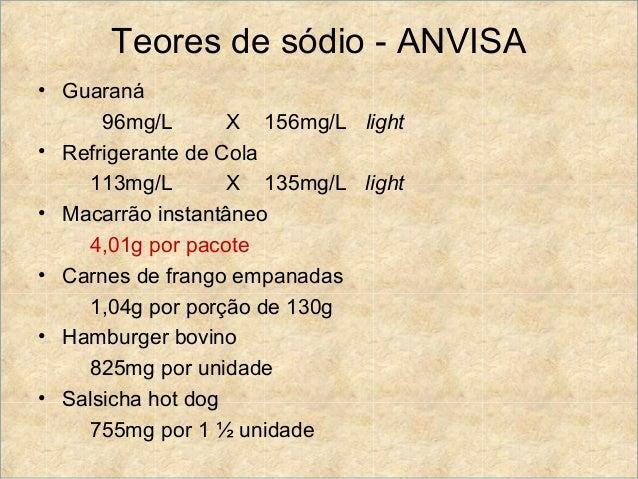 Teores de sódio - ANVISA• Guaraná      96mg/L       X 156mg/L light• Refrigerante de Cola    113mg/L        X 135mg/L ligh...