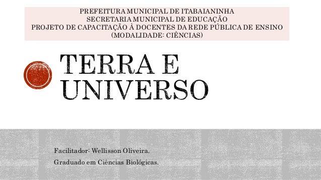 Facilitador: Wellisson Oliveira. Graduado em Ciências Biológicas. PREFEITURA MUNICIPAL DE ITABAIANINHA SECRETARIA MUNICIPA...