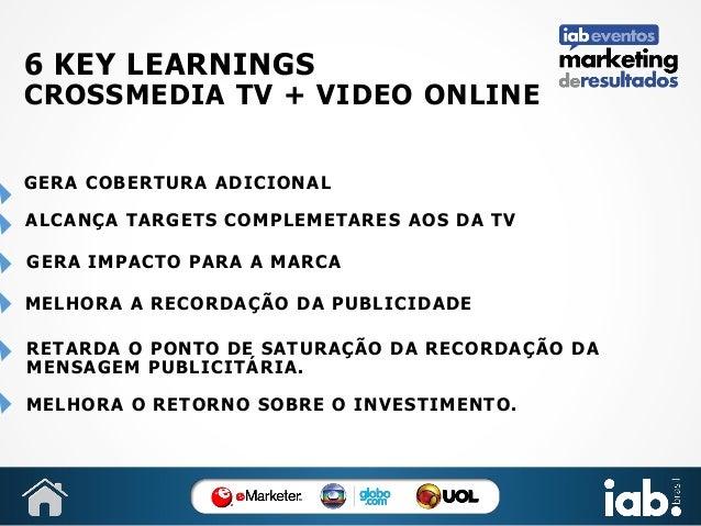 6 KEY LEARNINGS  CROSSMEDIA TV + VIDEO ONLINE GERA COBERTURA ADICIONAL ALCANÇA TARGETS COMPLEMETARES AOS DA TV GERA IMPACT...