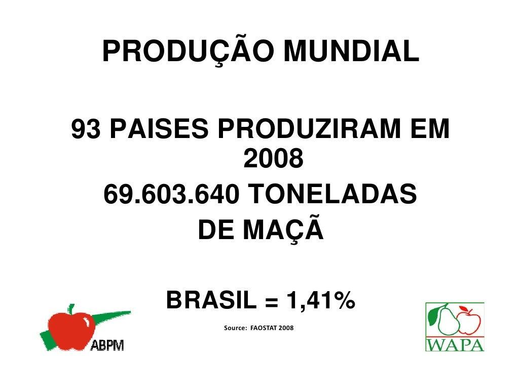 PRODUÇÃO MUNDIAL93 PAISES PRODUZIRAM EM            2008  69.603.640 TONELADAS         DE MAÇÃ     BRASIL = 1,41%         S...