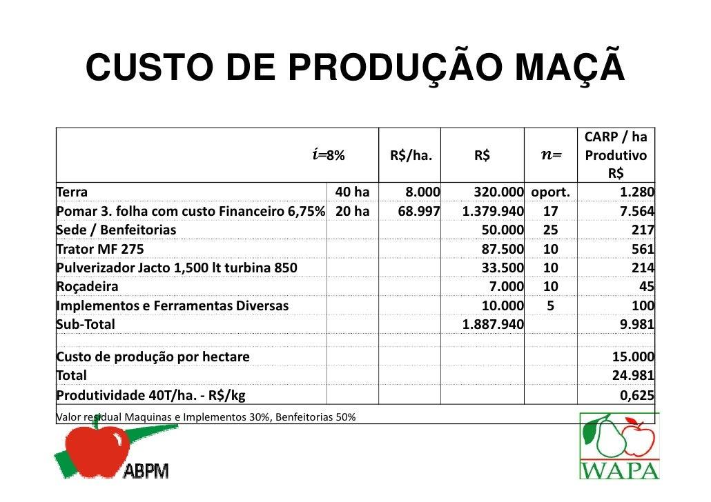 CARP/ha produtivo                 R$    9.981Custeio de Produção/ha            R$   15.000Packing + Frio                  ...