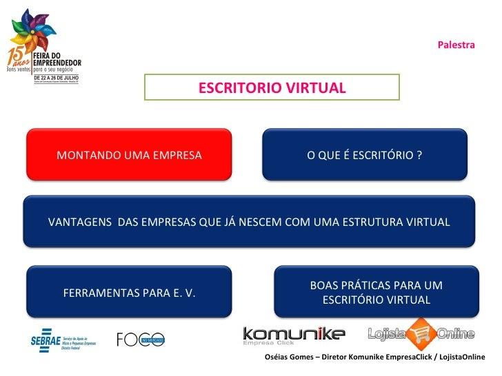 Palestra ESCRITORIO VIRTUAL Oséias Gomes – Diretor Komunike EmpresaClick / LojistaOnline MONTANDO UMA EMPRESA O QUE É ESCR...