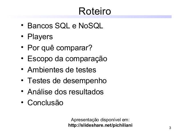 Comparação de desempenho entre SQL e NoSQL Slide 3