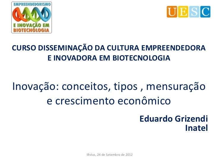 CURSO DISSEMINAÇÃO DA CULTURA EMPREENDEDORA        E INOVADORA EM BIOTECNOLOGIAInovação: conceitos, tipos , mensuração    ...