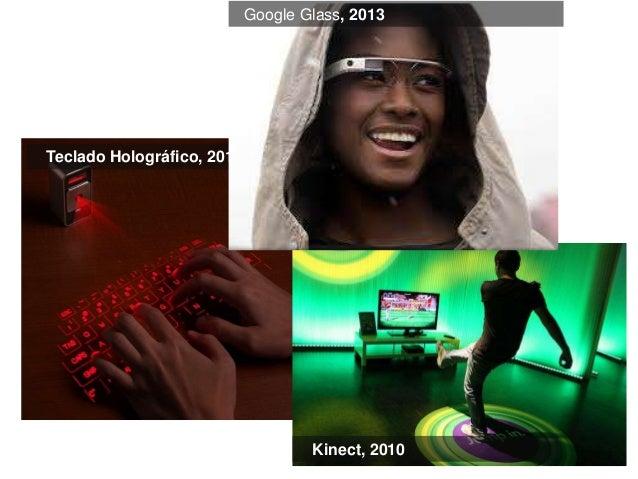 Teclado Holográfico, 2011  Google Glass, 2013  Kinect, 2010
