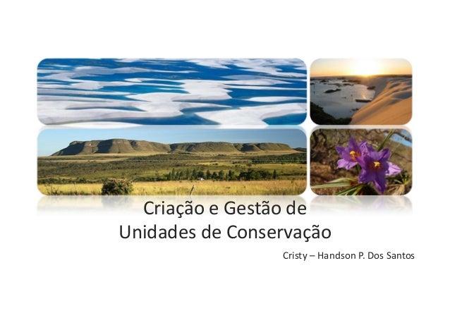 Criação e Gestão de Unidades de Conservação Cristy – Handson P. Dos Santos