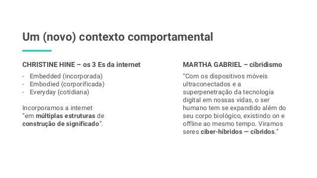 Um (novo) contexto comportamental - Embedded (incorporada) - Embodied (corporificada) - Everyday (cotidiana) Incorporamos ...
