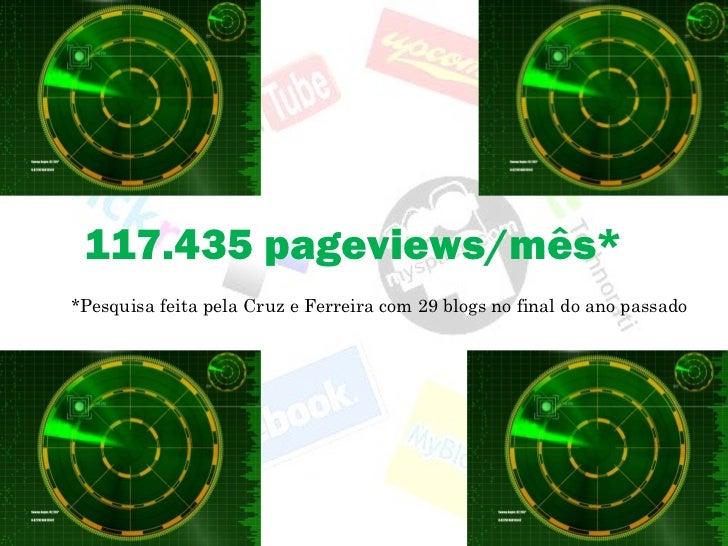 117.435 pageviews/mês* *Pesquisa feita pela Cruz e Ferreira com 29 blogs no final do ano passado