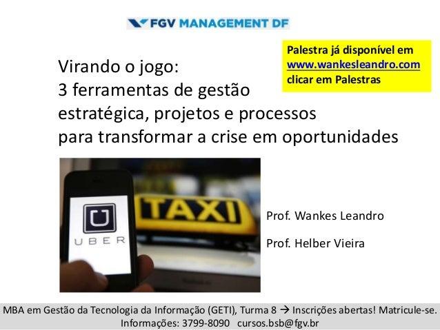 Virando o jogo: 3 ferramentas de gestão estratégica, projetos e processos para transformar a crise em oportunidades Prof. ...
