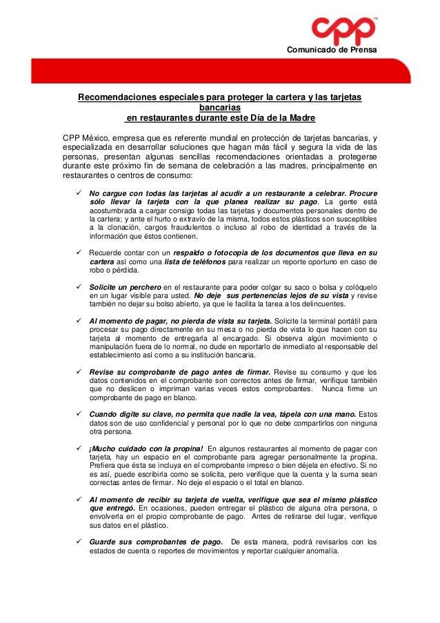 Recomendaciones de CPP para el 10 de Mayo