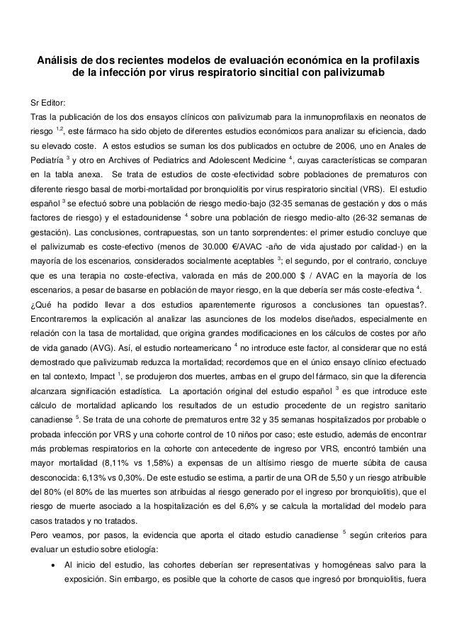 Análisis de dos recientes modelos de evaluación económica en la profilaxis        de la infección por virus respiratorio s...