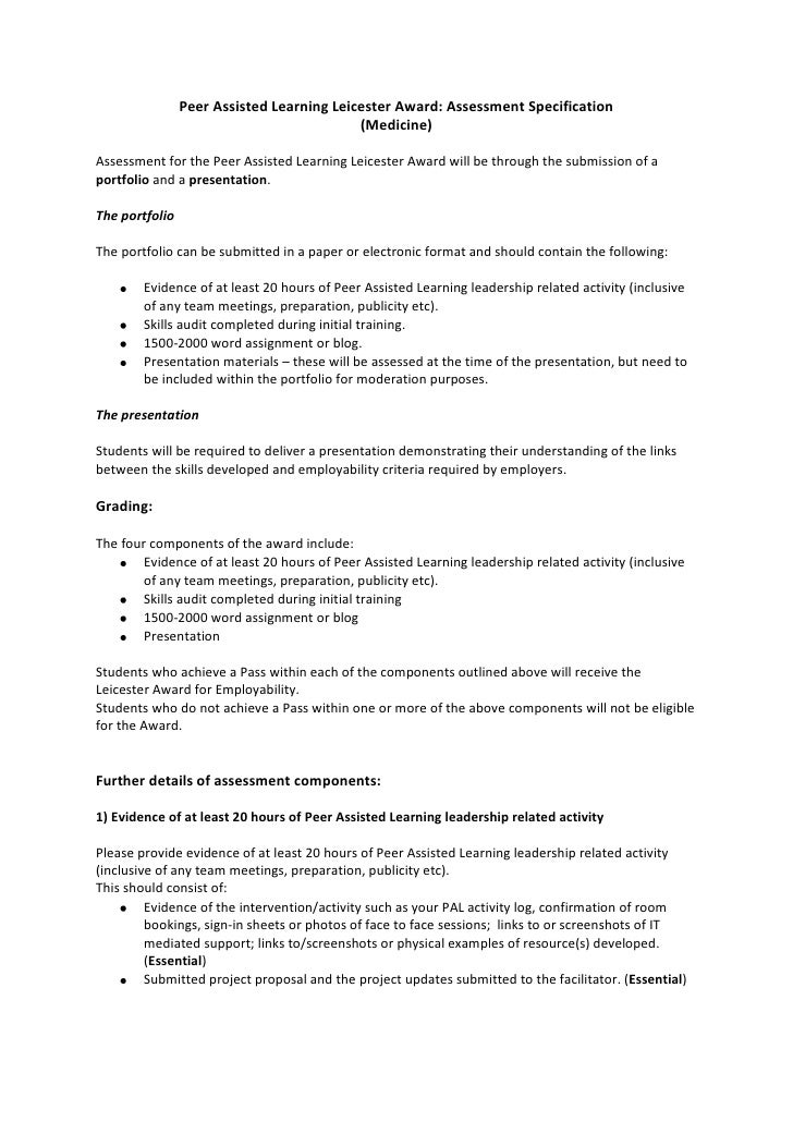 Peer Assisted Learning Leicester Award: Assessment Specification<br />(Medicine)<br />Assessment for the Peer Assisted Lea...