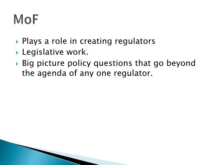 Plays a role in creating regulators<br />Legislative work.<br />Big picture policy questions that go beyond the agenda of ...