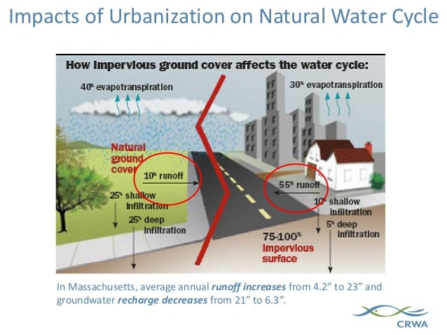 """In Massachusetts, average annual runoff increases from 4.2"""" to 23"""" and groundwater recharge decreases from 21"""" to 6.3"""". Im..."""