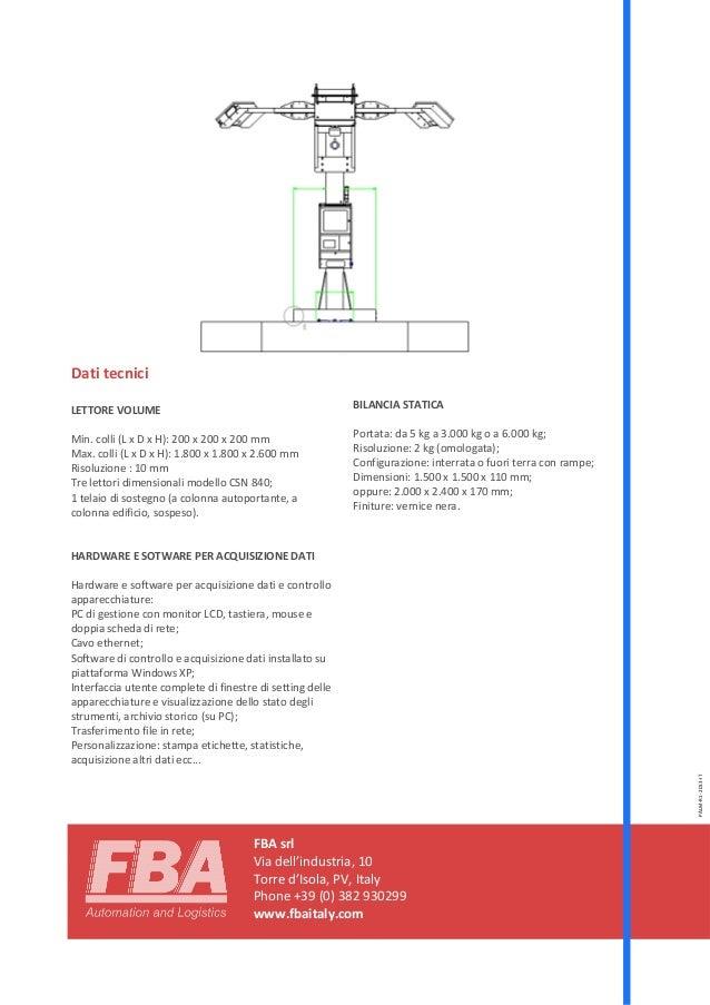 FBA srl Via dell'industria, 10 Torre d'Isola, PV, Italy Phone +39 (0) 382 930299 www.fbaitaly.com Dati tecnici LETTORE VOL...