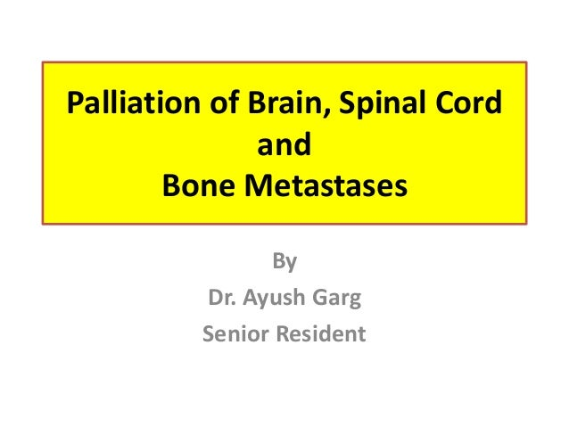 Palliation of Brain, Spinal Cord and Bone Metastases By Dr. Ayush Garg Senior Resident