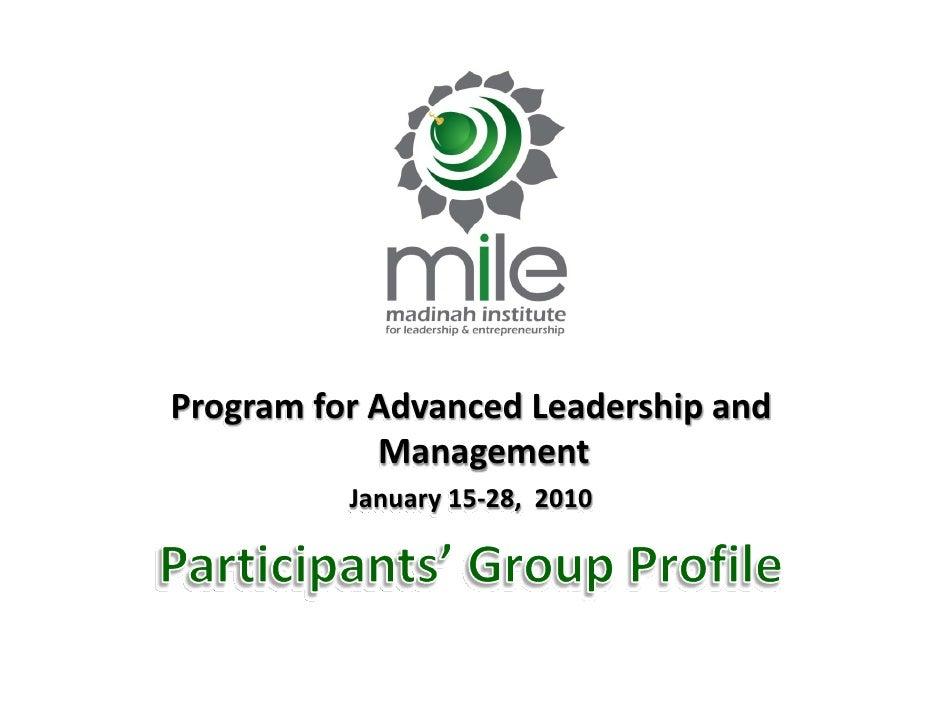 ProgramforAdvancedLeadershipand             Management           January15‐28,2010