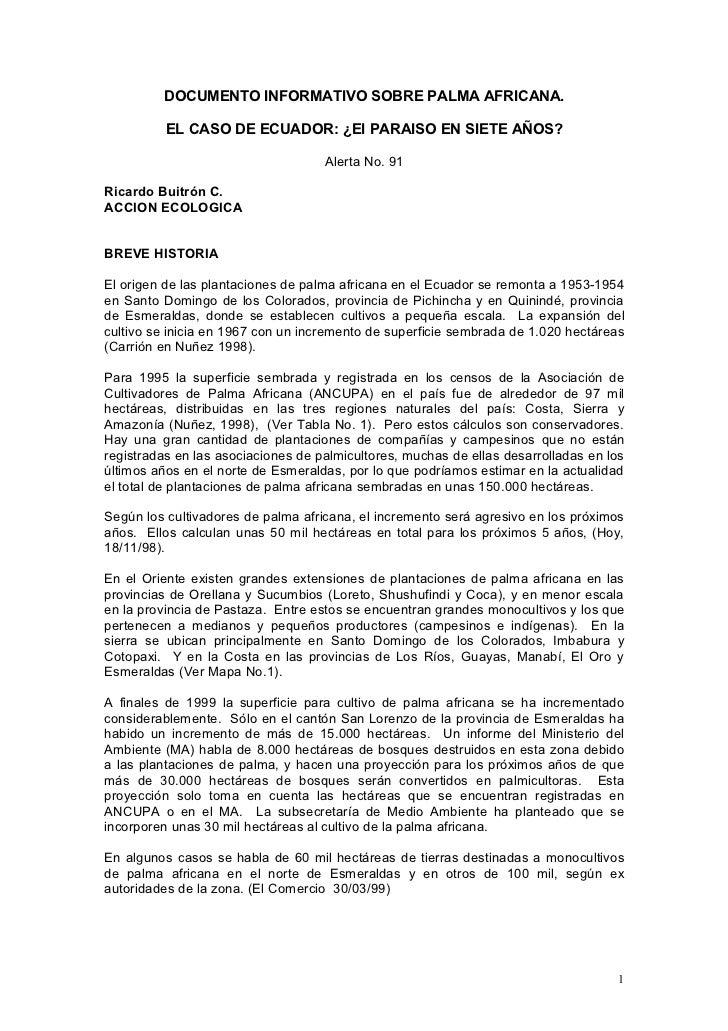 DOCUMENTO INFORMATIVO SOBRE PALMA AFRICANA.          EL CASO DE ECUADOR: ¿El PARAISO EN SIETE AÑOS?                       ...