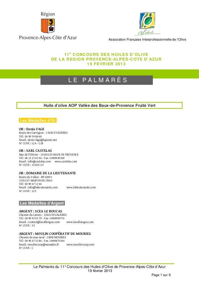 Association Française Interprofessionnelle de l'Olive                               11 e CONCOURS DES HUILES D'OLI VE     ...