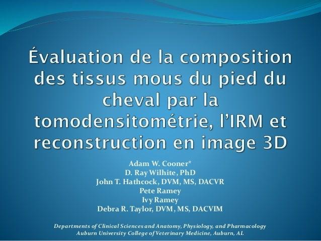 Adam W. Cooner* D. Ray Wilhite, PhD John T. Hathcock, DVM, MS, DACVR Pete Ramey Ivy Ramey Debra R. Taylor, DVM, MS, DACVIM...