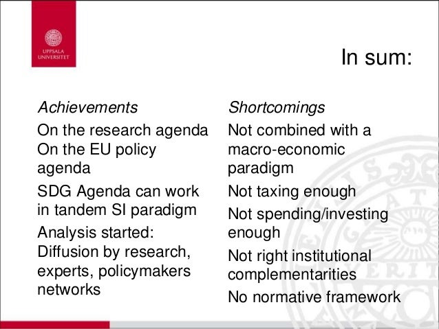 In sum: Achievements On the research agenda On the EU policy agenda SDG Agenda can work in tandem SI paradigm Analysis sta...