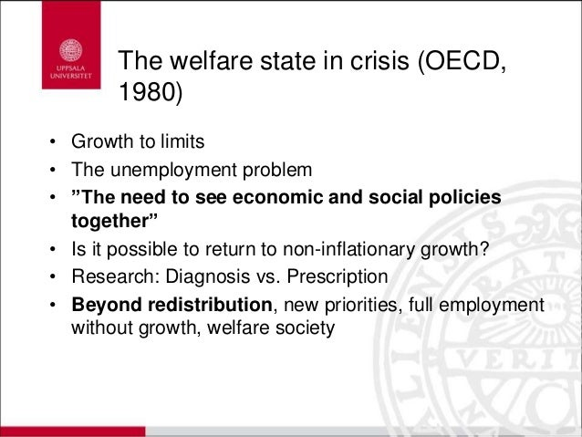 """The welfare state in crisis (OECD, 1980) • Growth to limits • The unemployment problem • """"The need to see economic and soc..."""