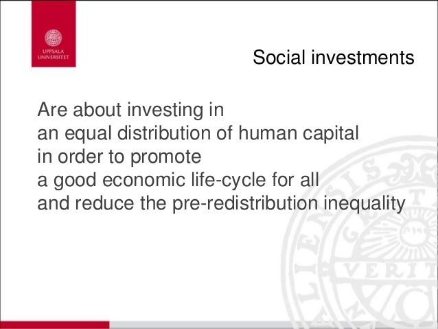 Social investments Are about investing in an equal distribution of human capital in order to promote a good economic life-...