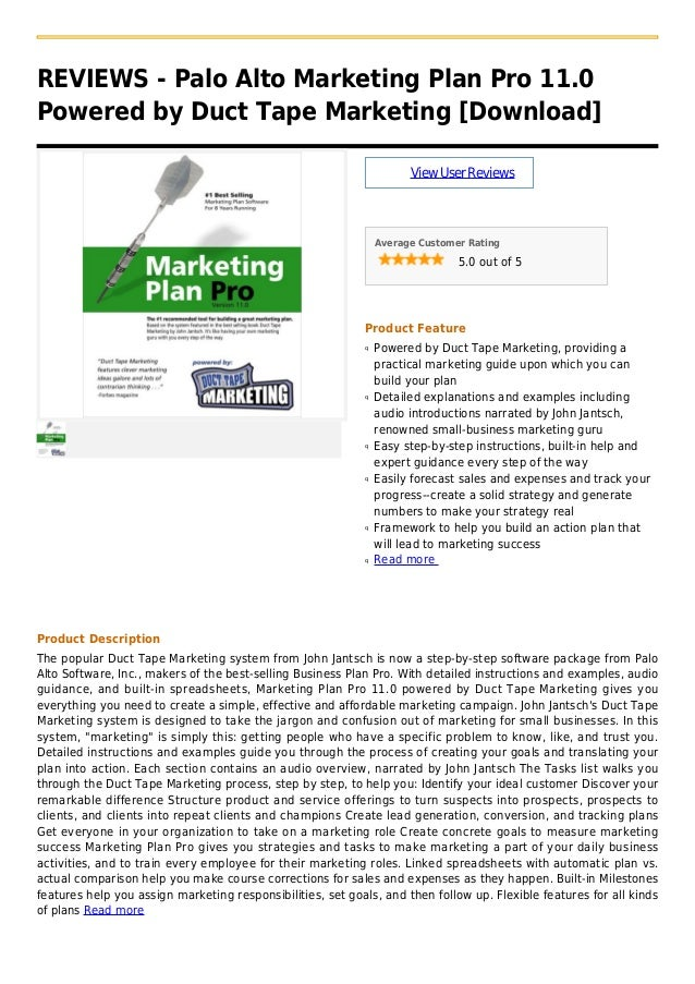 REVIEWS - Palo Alto Marketing Plan Pro 11.0Powered by Duct Tape Marketing [Download]ViewUserReviewsAverage Customer Rating...