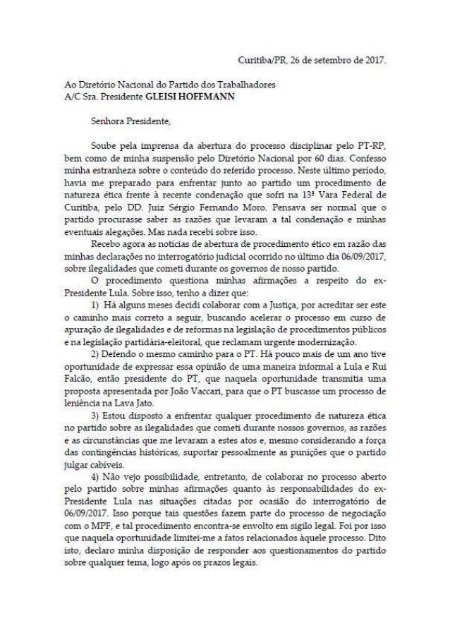 Carta de Antonio Palocci