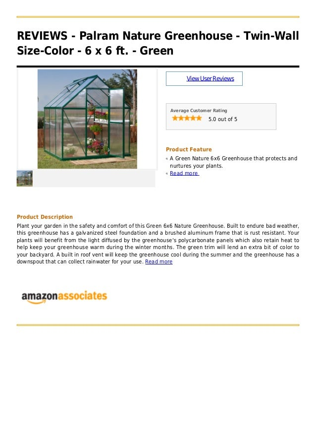 Palram nature greenhouse twin-wall size-color - 6 x 6 ft