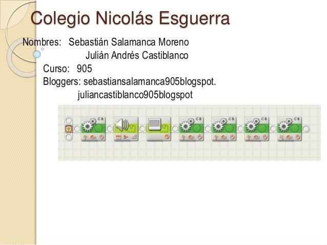 Colegio Nicolás Esguerra Nombres: Sebastián Salamanca Moreno Julián Andrés Castiblanco Curso: 905 Bloggers: sebastiansalam...