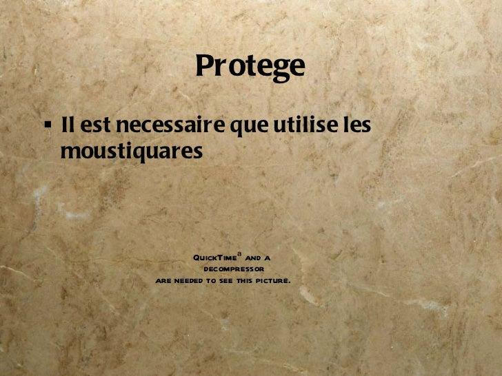 Protege <ul><li>Il est necessaire que utilise les moustiquares </li></ul>