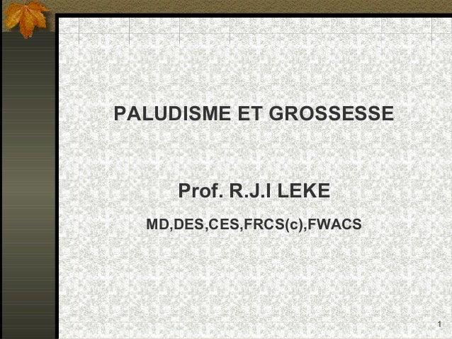 1 PALUDISME ET GROSSESSE Prof. R.J.I LEKE MD,DES,CES,FRCS(c),FWACS