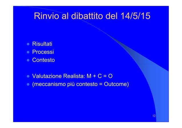 Rinvio al dibattito del 14/5/15Rinvio al dibattito del 14/5/15 Risultati Processi Contesto Valutazione Realista: M + C = O...