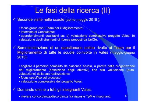 Le fasi della ricerca (II)Le fasi della ricerca (II) Seconde visitevisite nellenelle scuolescuole (aprile-maggio 2015 ): •...