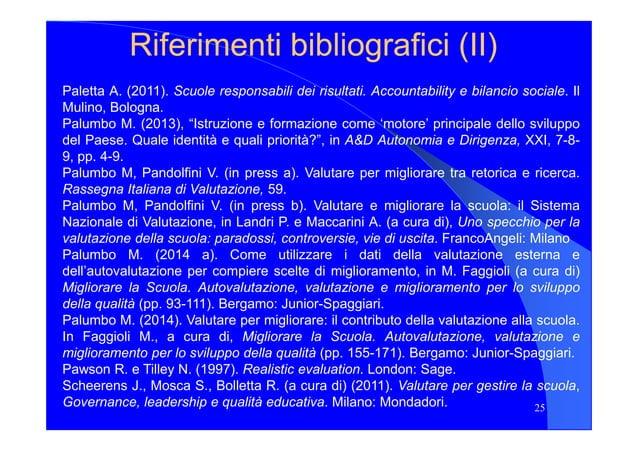 Riferimenti bibliografici (Riferimenti bibliografici (IIII)) Paletta A. (2011). Scuole responsabili dei risultati. Account...