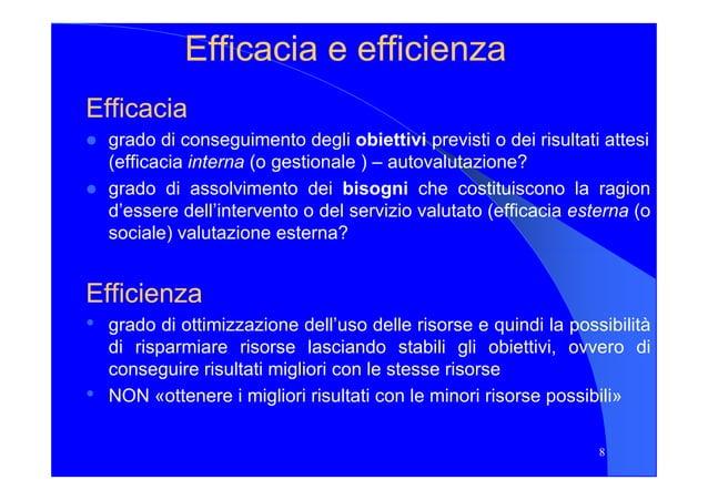 EfficaciaEfficacia ee efficienzaefficienza EfficaciaEfficacia grado di conseguimento degli obiettivi previsti o dei risult...