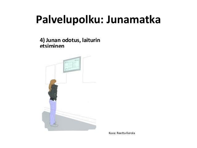 4) Junan odotus, laiturin etsiminen Palvelupolku: Junamatka Kuva: Reetta Kerola