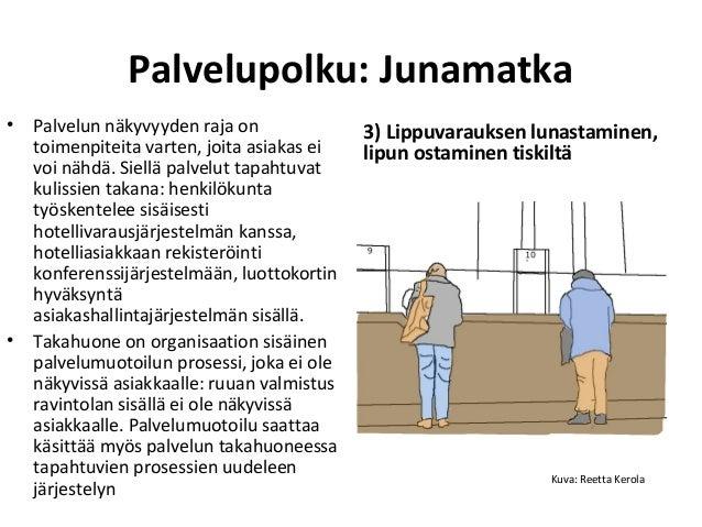 3) Lippuvarauksen lunastaminen, lipun ostaminen tiskiltä Palvelupolku: Junamatka • Palvelun näkyvyyden raja on toimenpitei...