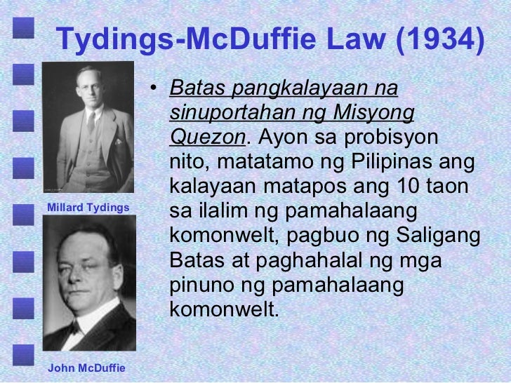 tydings mcduffie Tydings-mcduffie act: tydings-mcduffie act, (1934), the us statute that provided for philippine independence, to take effect on july 4, 1946, after a 10-year transitional period of commonwealth government.