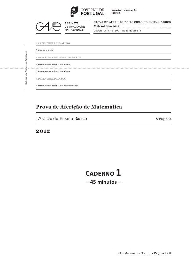 PROVA DE AFERIÇÃO DO 1.º CICLO DO ENSINO BÁSICO                                                                         Ma...