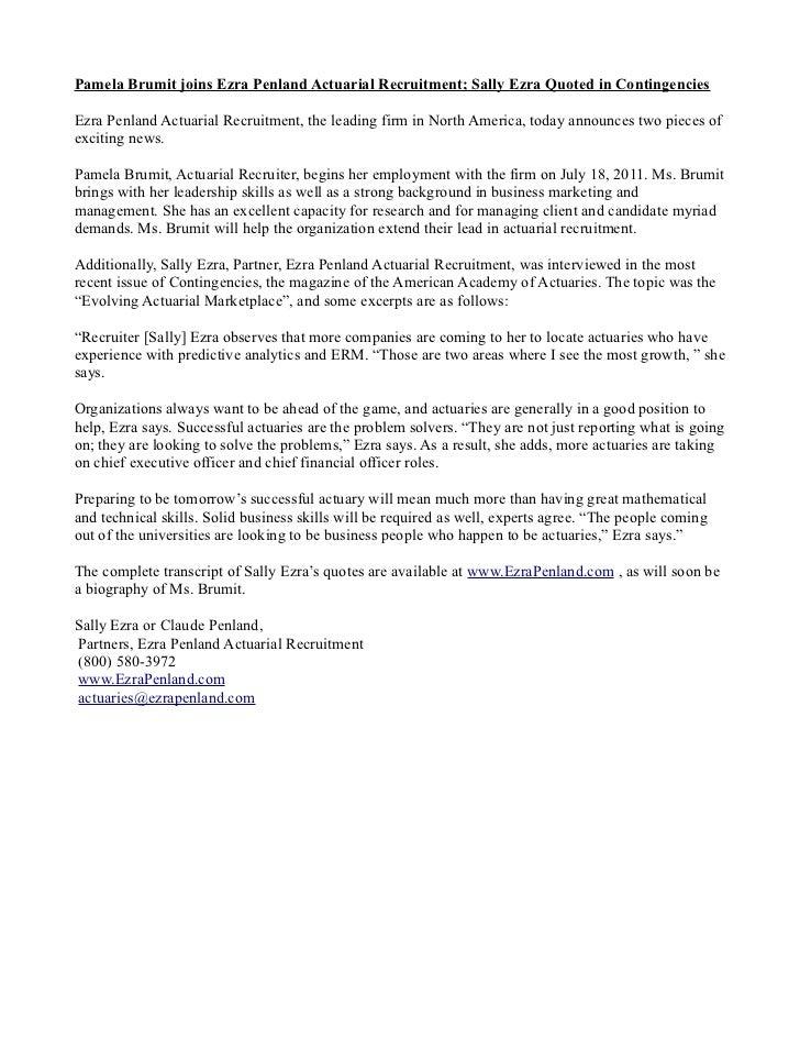 Pamela Brumit joins Ezra Penland Actuarial Recruitment; Sally Ezra Quoted in ContingenciesEzra Penland Actuarial Recruitme...