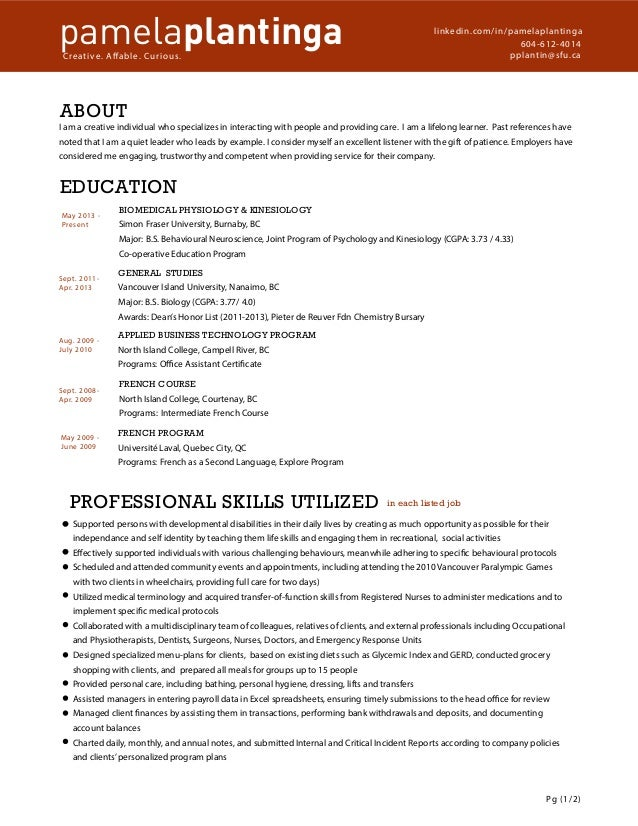 pamela plantinga resume redesign